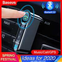 Baseus Car AUX Bluetooth 5,0 adaptador 3,5mm Jack receptor de Audio inalámbrico manos libres Bluetooth Kit de coche para teléfono Auto transmisor