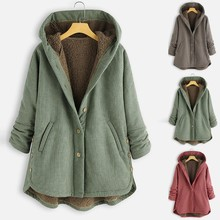 Plus tamaño de Invierno Caliente mujer Abrigos Vintage Plaid falda botón con capucha Outwearcoat bolsillos Vintage gran tamaño abrigos para mujer