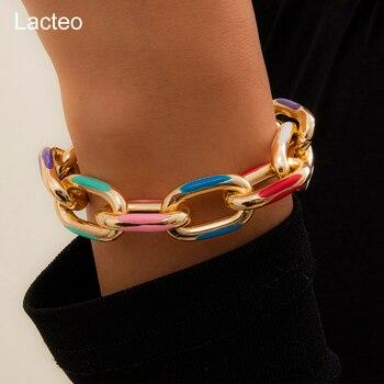 Lacteo Bohemian Colorful Painted Aluminum Chain Charm Bracelet Jewelry For Women Fashion Trendy Cross Chain Bangle Bracelet 1