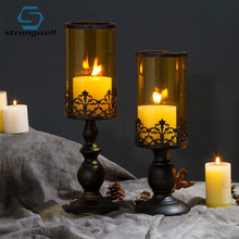 Strongwell Vintage Candle Holder Romantic Stand Candle Metal Base Craft Large Glass Candlesticks Wedding Decoration Crafts 3pcs set vintage home decor romantic wedding decoration candle holders white candle holders tall glass candlesticks crafts