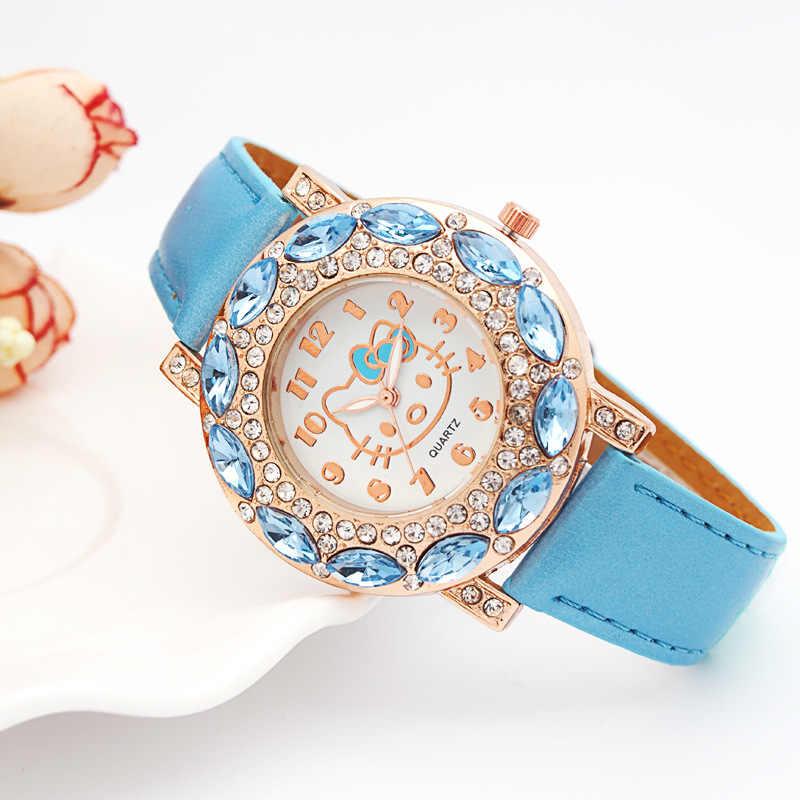 Hello Kitty enfants montres enfants mignon Hello Kitty en cuir montres à Quartz pour les filles horloge