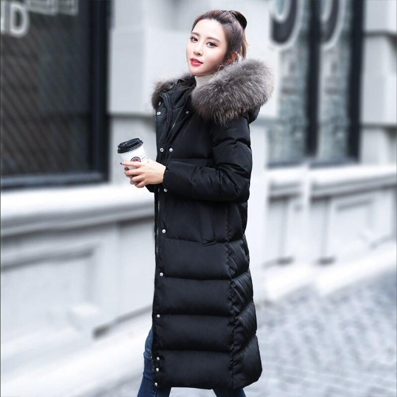 Winter Women's 2020 Down Jacket Hooded Long Coat Female Puffer Jacket Korean Warm Duck Down Jackets Big Fur Collar 1666 S