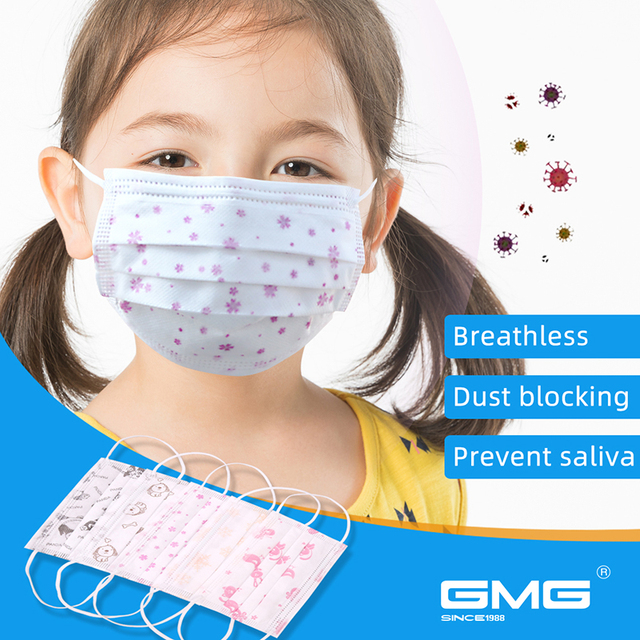 Máscara infantil estampada 50 peças, envio dentro de 24 horas, 3 camadas, preta, rosa, para meninos, meninas, máscara de poeira descartável máscaras respiráveis