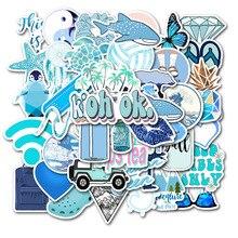 50Pcs Blue Cartoon Animal Graffiti Computer Stickers Waterproof Luggage Fridge Decals For MacBook/