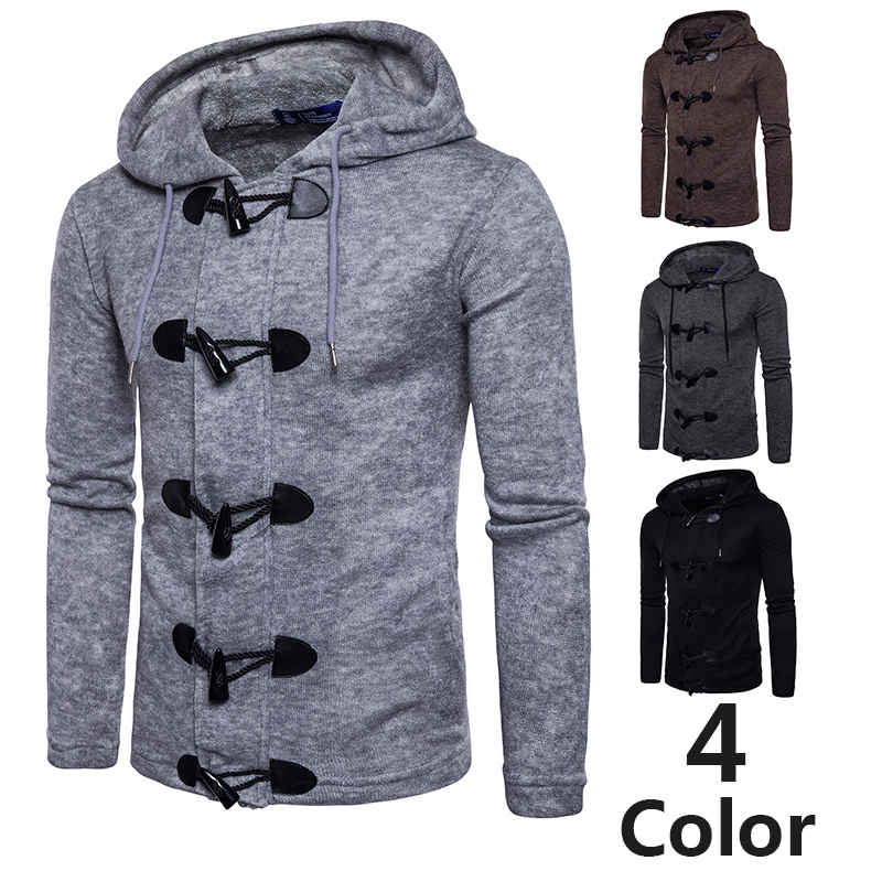 Brand Horn Buckle Sweatercoat Men 2019 Autumn Fashion Hooded  Cardigan Solid Color Slim Casual Kintted Coats Men Hip Hop Pull