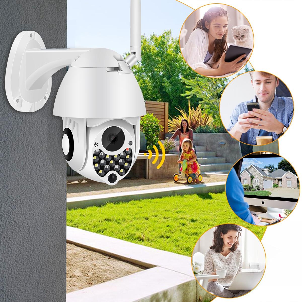 H8dd357bbc7d6403cbf36ca16f213851b7 1080P Outdoor Wifi PTZ Camera with Siren Light Auto Tracking Cloud Home Security IP Camera 2MP 4X Digital Zoom Speed Dome Camera