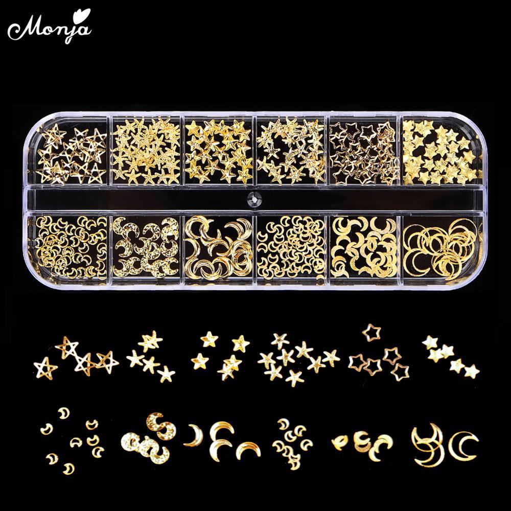 Monja 12 ячеек в коробке, смешанный стиль, дизайн ногтей, луна, звезда, золотые металлические заклепки, гвоздики, 3D, подвески, украшения, аксессуа...