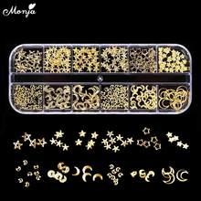 Monja 12 grades/caixa de estilo misto arte do prego lua estrela ouro metal rebite pregos swquins 3d diy encantos decoração acessórios