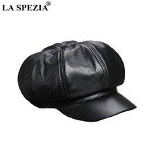 Женская восьмиугольная кепка la spezia Черная из натуральной