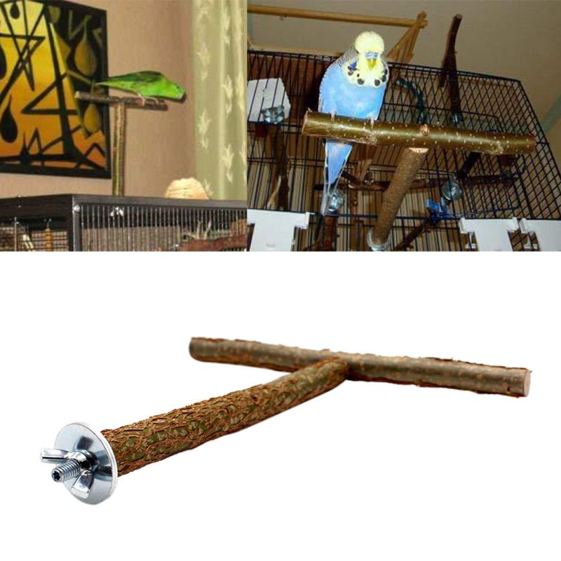 Bird Parrot T Shape Perch Grinding Toy Cage Training Chewing Parakeet Wood Stand Toys Birds Supplies