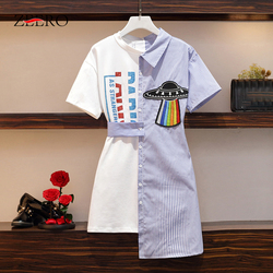 Женское облегающее платье-рубашка в полоску размера плюс, Элегантное повседневное уличное мини-платье с аппликацией из мультфильма