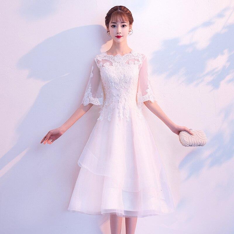 Evening Dress Woman 2019 High Quality Thin Dress Long Fund White Bridesmaid