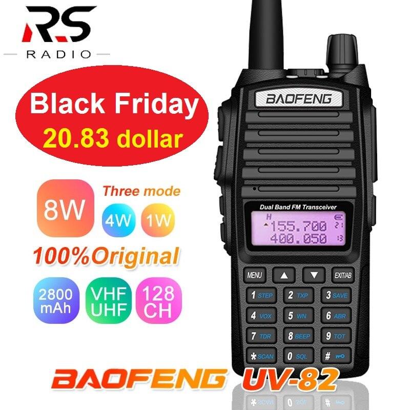 8W High Power Walkie Talkie BaoFeng UV-82 Dual Band VHF UHF 2800mAh 128CH CB Ham Radio Transceiver UV 82 PMR446 Two Way Radio