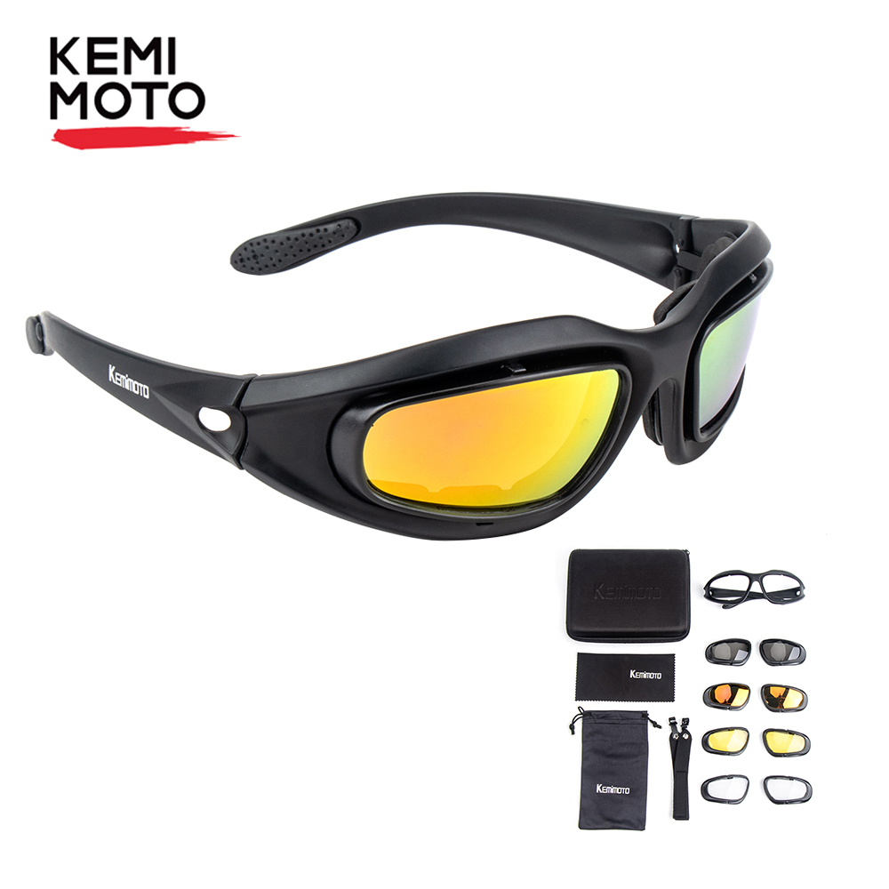 KEMiMOTO Motorcycle Glasses Polarized Sunglasses For Shooting Eye Protection Windproof Moto Goggles UV400 Antifog clear Lens