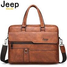 JEEP BULUO maletín de negocios de cuero partido para hombre, bolso de oficina para ordenador portátil de 14 pulgadas, A4