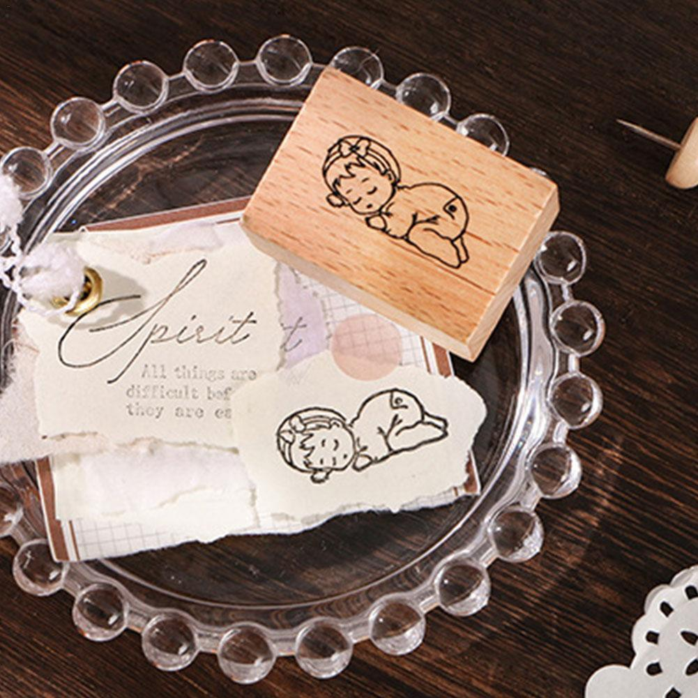 1pc Vintage Wooden Rubber Stamps Set Plant Tree Flower Diy Notebook Diary Scrapbooking Making Stamp Decorative Number For C P4F0