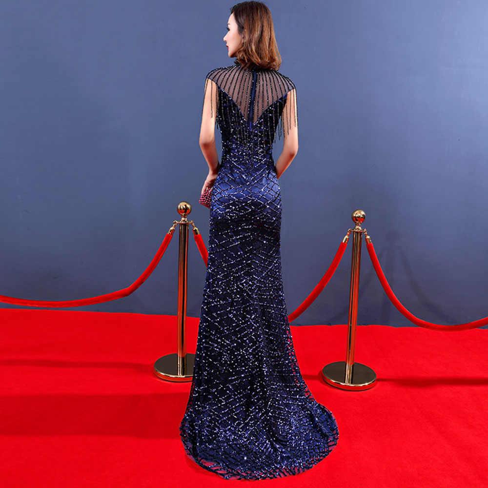 Akşam ünlü elbiseleri Mermaid yüksek yaka kırmızı halı seksi sahne elbise gerçekleştirmek için