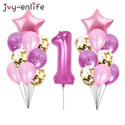 40-дюймовые фольгированные воздушные шары с цифрами 1, декор для 1-го дня рождения, воздушный шар «Конфетти» для маленьких мальчиков, воздушны...