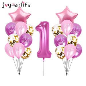 40inch Number 1 Foil Balloons Baby Shower 1st Birthday Party Decor Confetti Balloon Baby boy Girl balls Helium Globos 1 One Year