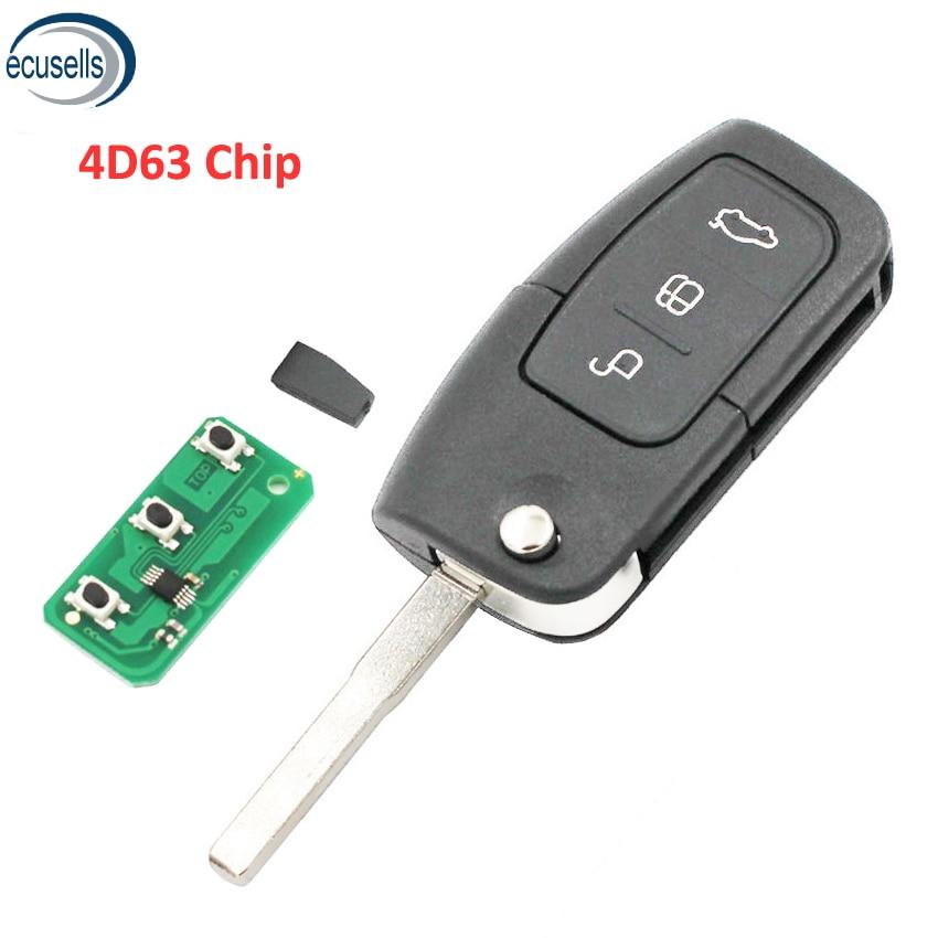 Складной дистанционный ключ с 3 кнопками, брелок 433 МГц для Ford Focus с чипом 4D63 или без чипа HU101 Blade
