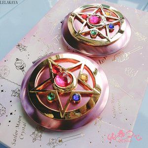 Image 3 - Anime Sailor Moon Moonlight Action Figure Folded Mirror Pink Metal Crystal Star Cosmetic Makeup Mirrors Cosplay Gifts toy New