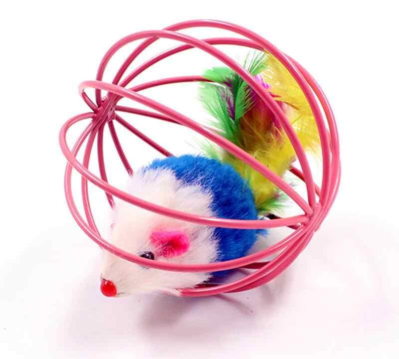 1 adet kedi interaktif oyuncak top tüy değnek küçük çan ile fare kafesi oyuncak plastik yapay renkli kedi Teaser oyuncak pet malzemeleri