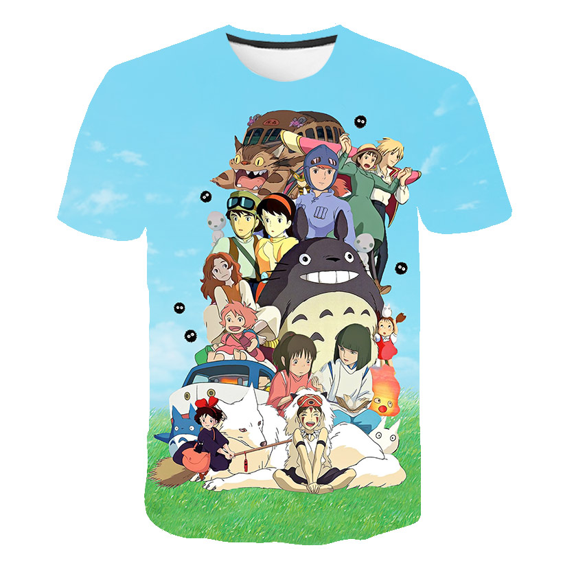 Totoro Spirit T Shirt Away  Miyazaki Hayao Cartoon Studio Ghibli Femme Man Women Child Japanese Anime Tshirt Clothes Anime