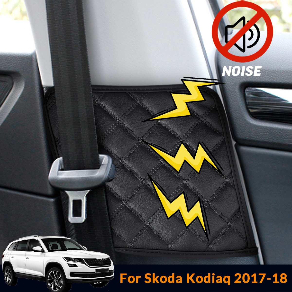 2X Car Seat Safety Belt Protective Pad Crash Mat Cover Car Styling Auto Interior Accessories For Skoda Kodiaq 2017 2018
