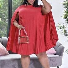 Mais vestidos de tamanho feminino solto relógio manga plissado festa evento aniversário africano vestidos sexy roupões noite para senhoras xxl 2021 novo