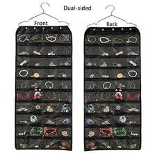 56 Pockets Hanging Organizer Jewelry Storage Bag Wardrobe Closet Organizer Earrings Ring Necklace Bracelet Pouch Display Holder недорого