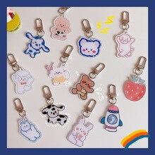 Korean Ins Cute Cartoon Bear Animals Key Buckle Student Schoolbag Girl Fashion Bag Creative Decorative Pendant Kawaii Key Chain