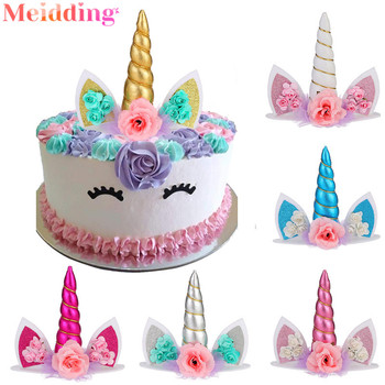 Horn Unicorn Cake Topper Unicorn Cake Decorations Wedding Cake Toppers Unicorn Accessories Kids Birthday Party Baby Shower 30pcs golden glitter unicorn horn theme cupcake toppers kid s party baby shower decors