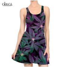 Girls Sleeveless Sexy Dresses 3D Print Hemp Leaf Fashion Casual Summer Slim Beach Hemp Dress Female Party Dress Women's Clothing