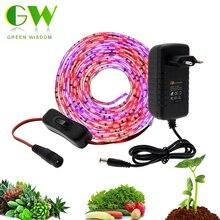 5 м светодиодный светильник для выращивания, полный спектр ультрафиолетовых ламп для растений, водонепроницаемая фитолента с адаптером и переключателем для теплицы