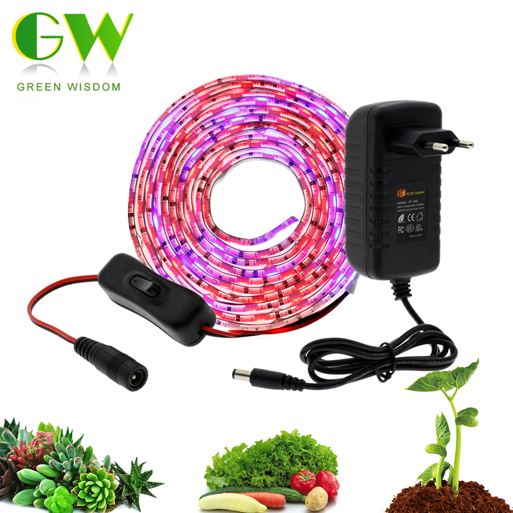 LED Plant Grow Lights Full Spectrum 5m Waterproof Strip Set For Plants Flowers Phyto Lamp With Adapter And Switch For Greenhouse