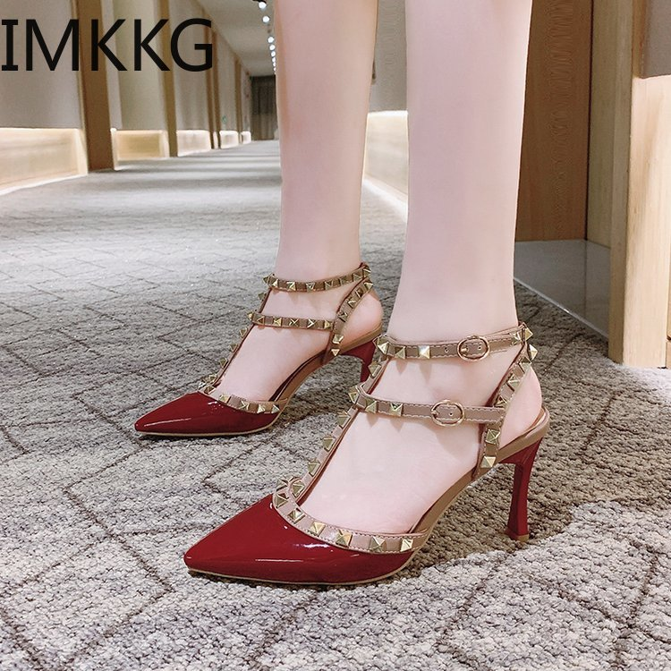 Women Shoes 2020 New Chaussure Femme Zapatos Mujer Straps Rivets Shoes Women Pumps High Heels Ladies Shoes S507