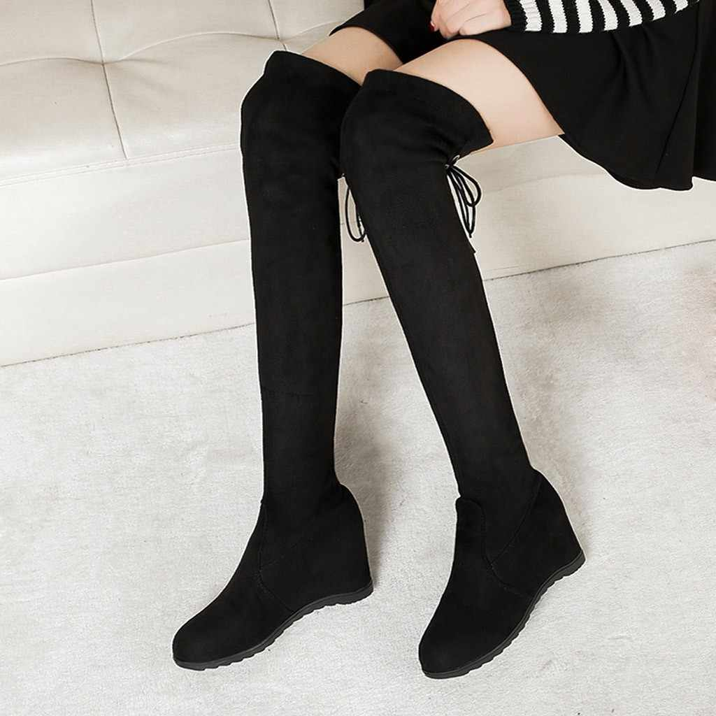 SAGACE Boots Fashion Lace Over Knee Long Boots Women Increased Over Elastic Stretch Heel Platform Comfortable Shoes Boot #45