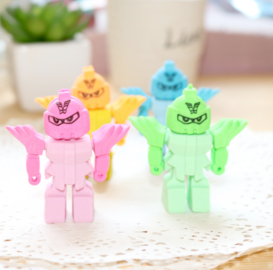Cute Super Hero Warrior Pens Eraser Kawaii Pencil Erasers For Kids Rubber Stationery School Supplies Student Prizes Gifts