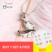 Strollgirl Genuine 925 sterling silver Feather Necklace Trendy Fine Jewelry Necklaces & Pendants For Valentine Gift New Arrival
