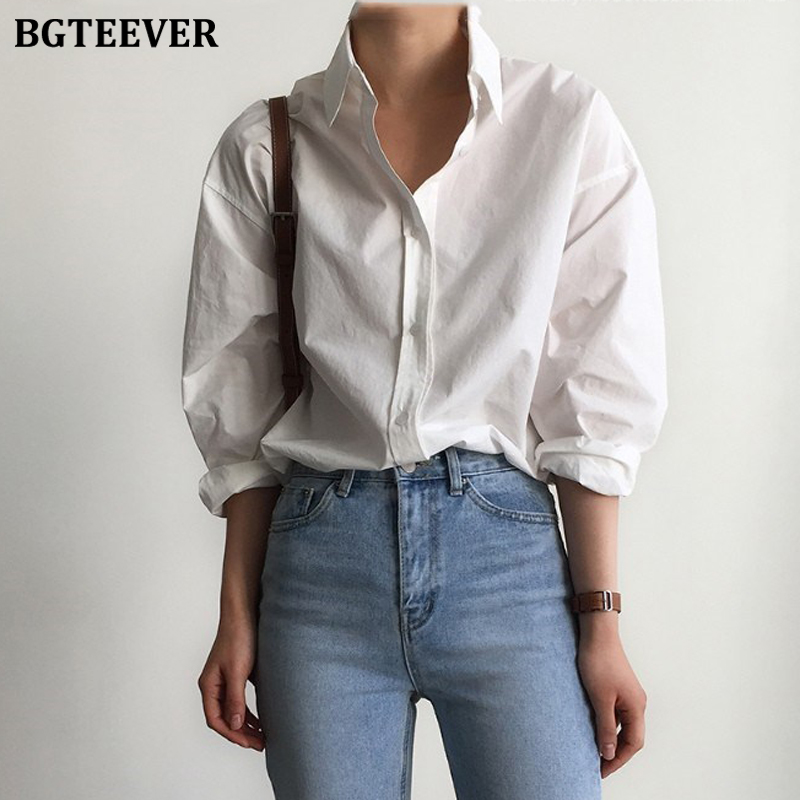 BGTEEVER Office Ladies White Shirts Blouses Spring Simple Turn-down Collar Single-breasted Long Sleeve Shirts Female Tops Blusas