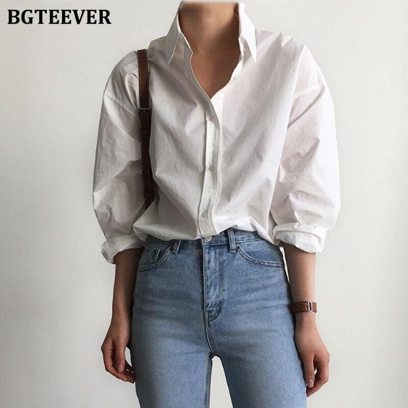 BGTEEVER, офисные женские белые рубашки, блузки, женские весенние Рубашки с отложным воротником, однобортные рубашки с длинным рукавом, женские топы, блузы|Блузки и рубашки|   | АлиЭкспресс