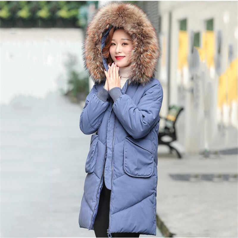 Женское хлопковое пальто большого размера 2019 зимняя новая куртка одноцветная куртка с капюшоном для среднего возраста теплое Стеганое пальто с меховым воротником XIN108