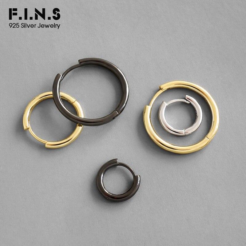 F.I.N.S Three-tones Korean S925 Sterling Silver Earrings INS Minimalist Round Hoop Earrings Geometry Costume Female Fine Jewelry