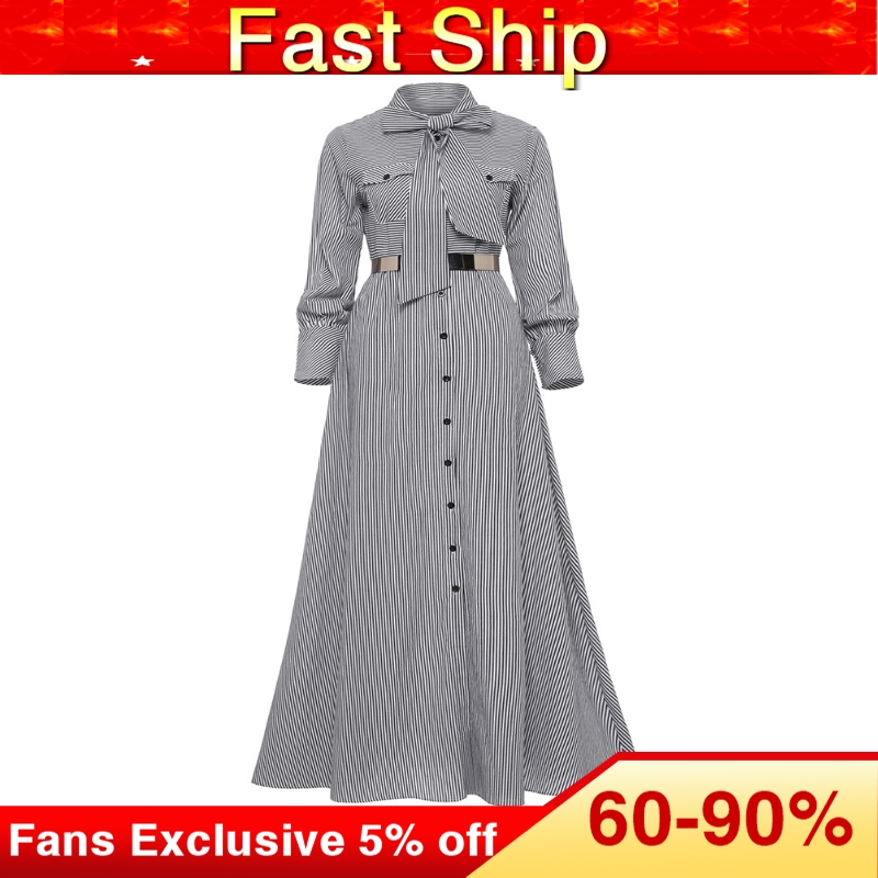 Women Striped Maxi Dress Floor-length Bowknot Tie Long Sleeve Loose Button Dress Autumn Pocket Elegant A-line Casual Long Dress