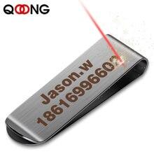Qoong personalizado lettering cor prata de aço inoxidável bolso fino clipe de dinheiro cartão de crédito do negócio dinheiro carteira bill clipe QZ40-008