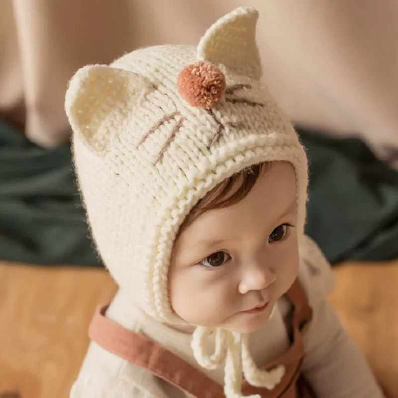 Kid Winter Hat 2019 Autumn Baby Girls Boys Toddler Cartoon Print Hats With Ear Design Casual Caps Sweet Protection Headwear