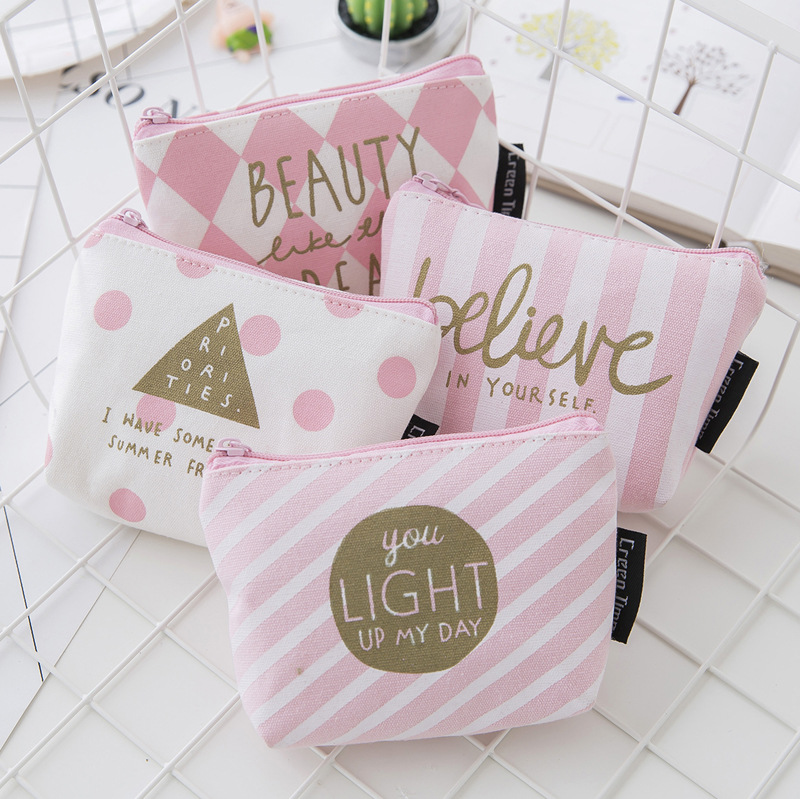 New Style Cute Pink Canvas Coin Purse Carrying Change Storgage Bag Creative Coin Bag