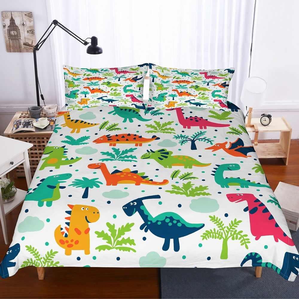 恐竜ウッドランドドット白でベッドカバー布団カバーセット 2/3 個子供漫画の恐竜寝具セットシングルダブルフル女王