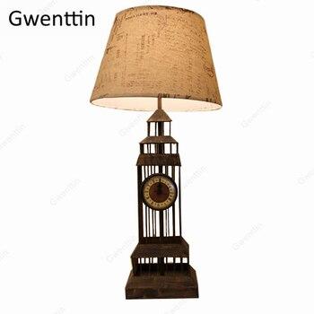 영국 시계 타워 테이블 램프 레트로 서 책상 조명 침실 호텔 침대 옆 램프 led 전등 luminaire 홈 장식