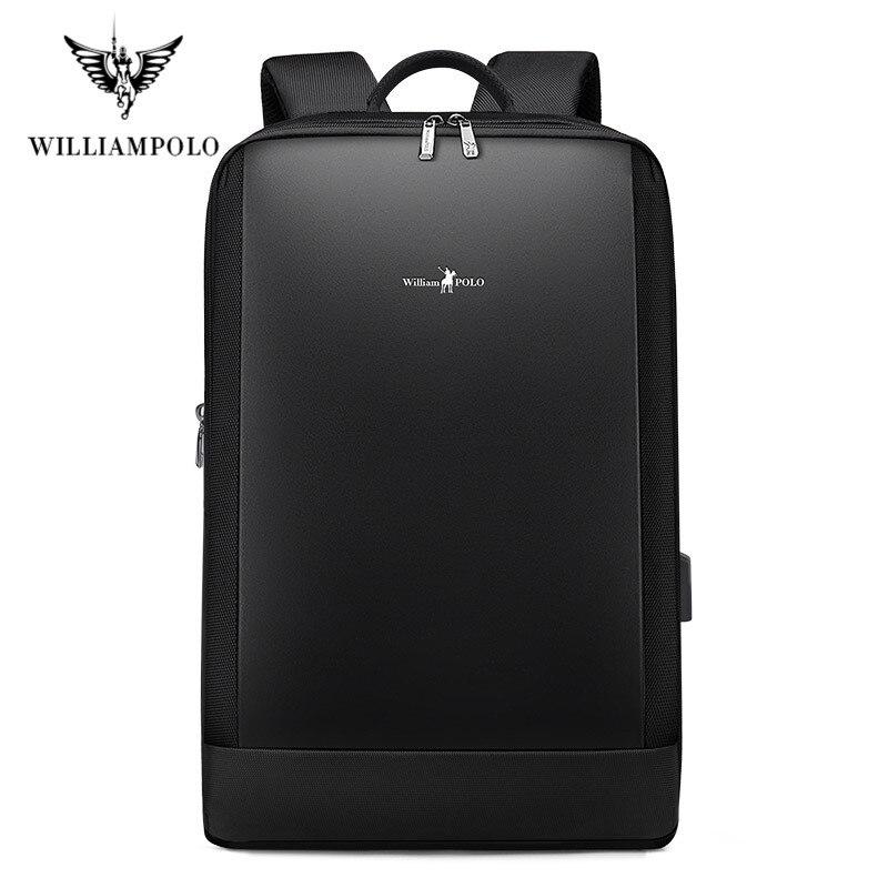 Williampolo Slim Laptop Backpack Men 15.6 Inch Office Work Men Backpack Business Bag Unisex Black Ultralight Backpack Thin Back